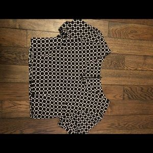 Ladies small retro cropped blouse black and white